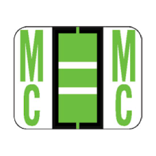 1283-Mc | Lt. Green Mc Labels Tab Products 1283 Series Size 1H x 1-1/4W, 500/box