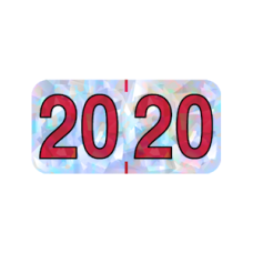 20-HSYM | 2020 Silver Holographic Year Labels Size 3/4H x 1-1/2W Laminated 500/Box