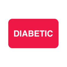 D1021 - DIABETIC Labels - Red Label with White Print 250/Box