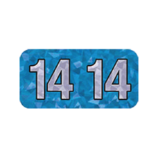 14-HBYM | 2014 Blue Holographic Year Labels Size 3/4H x 1-1/2W Laminated 500/Box