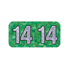 14-HGYM | 2014 Green Holographic Year Labels Size 3/4H x 1-1/2W Laminated 500/Box
