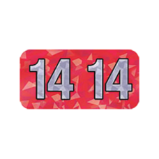 14-HRYM | 2014 Red Holographic Year Labels Size 3/4H x 1-1/2W Laminated 500/Box