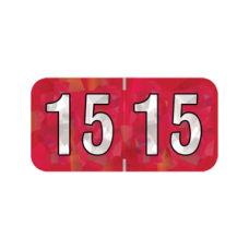 15-HRYM | 2015 Red Holographic Year Labels 3/4H x 1-1/2W Laminated 500/Box