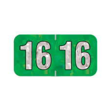 16-HGYM | 2016 Green Holographic Year Labels 3/4H x 1-1/2W Laminated 500/Box