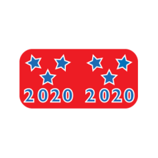 20-GBAY | Red, White and Blue 2020 Labels Patriot Size 3/4H x 1-1/2W Laminated 500/Box