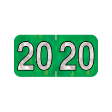 20-HGYM | 2020 Green Holographic Year Labels Size 3/4H x 1-1/2W Laminated 500/Box