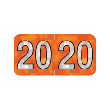 20-HOYM | 2020 Orange Holographic Year Labels Size 3/4H x 1-1/2W Laminated 500/Box