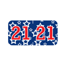 21-GBAY | Red, White and Blue 2021 Labels Patriot Size 3/4H x 1-1/2W Laminated 500/Box