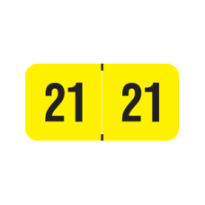 21-SM34 | Yellow/Black 21 Smead Year Labels Size 3/4H x 1-1/2W Laminated 500/Box