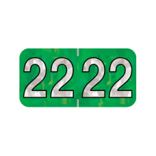 22-HGYM | 2022 Green Holographic Year Labels Size 3/4H x 1-1/2W Laminated 500/Box