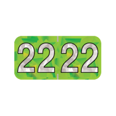 22-HLYM | 2022 Lime Holographic Year Labels Size 3/4H x 1-1/2W Laminated 500/Box