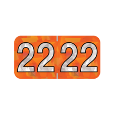 22-HOYM | 2022 Orange Holographic Year Labels Size 3/4H x 1-1/2W Laminated 500/Box