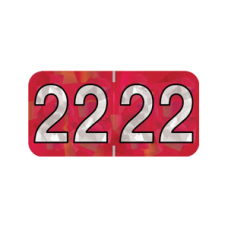 22-HRYM | 2022 Red Holographic Year Labels Size 3/4H x 1-1/2W Laminated 500/Box