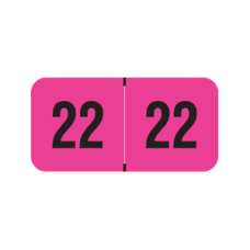 22-PMAP   Fluorescent Pink 22 PMA Year Labels Size 3/4H x 1-1/2W Laminated 500/Box