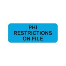 A1001 - PHI RESTRICTIONS - Blue Label with Black Print