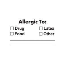A1022 - ALLERGIC TO: - White Label with Black Print 250/bx