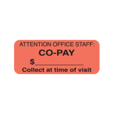 A1025 - CO-PAY - Fluorescent Red Label with Black Print