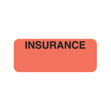 A1035 - INSURANCE - Fluorescent Red Label with Bk Print