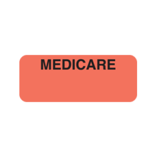 A1036 - MEDICARE - Fluorescent Red Label with Black Print