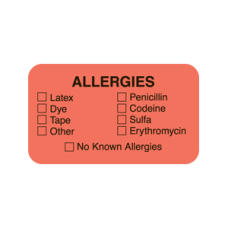 ARD1323 - ALLERGIES - Allergy Labels Fl. Red With Black Print