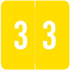 AVN-3 | Yellow #3 Labels Acme Visible Numeric Series Size 1-1/2H x 1-1/2W 500/Box