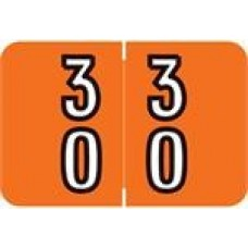 DBKM-30 | Orange #30-39 Barkley Double Digit 1H x 1-1/2W Laminated 500/Box