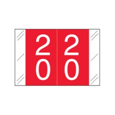 11200-20 | Red #20-29 Tabbies 11200 Double Digits 1H x 1-1/2W Laminated 500/Box