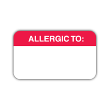 MAP1000 - Allergy Warning Labels, White Red Print