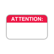MAP1010 - Medical Alert Labels, ATTENTION - White with Red Print