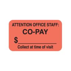 MAP1310 - CO-Pay Labels - Fluorescent Red with Bk