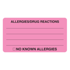 MAP1730 - Allergy Warning Labels - Fl Pink/Black