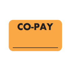 MAP2890 - CO-PAY Labels - Fl Orange with Black Print