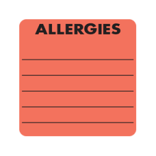 MAP3220 - ALLERGY LABELS - Fluorescent Red with Black