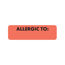 MAP326 - ALLERGIC TO: - Allergy Labels Fl. Red with Black Print