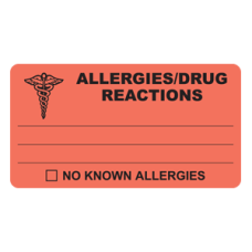 MAP327 - ALLERGIES/DRUG REACTION - Fl Red/Black Print