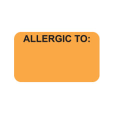 MAP3320 - ALLERGIC TO: -  Allergy Labels Fl. Orange