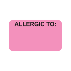 MAP3350 - ALLERGIC TO: - Allergy Labels Fl. Pink with Bk Print