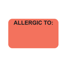 MAP3390 - Allergy Warning Labels, FL Red with Black Print