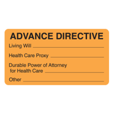 MAP3500 - ADVANCE DIRECTIVE Labels - Fluorescent Orange/Bk