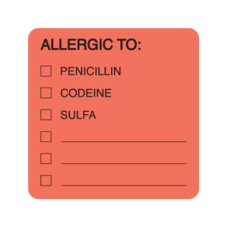 MAP4890 - ALLERGIC TO: PEN - Allergy Labels Fl. Red/Bk Print