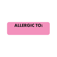 MAP497 - ALLERGIC TO: - Allergy Labels Fl. Pink with Black Print