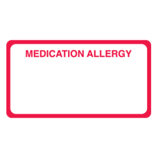 MAP5140 - MEDICATION ALLERGY - White with Red Print