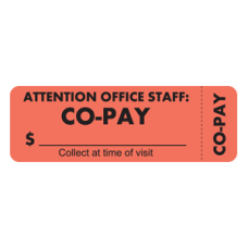 MAP6460 - CO-PAY - Fluorescent Red Label with Black Print