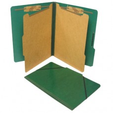 S J Paper S56101 Forest Green Classification Folio, 2 Dividers, Elastic Closure, Legal Size, 10/Box