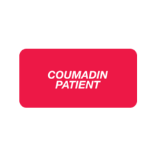 SY-1717 - COUMADIN PATIENT - Red Label With White Print