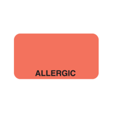UL019 - ALLERGIC - Fluorescent Red Label with Black Print