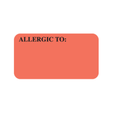 UL180 - ALLERGIC TO: - Allergy Labels Fl. Red with Black Print
