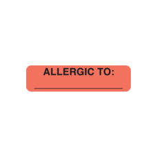 UL439 - ALLERGIC TO: - Allergy Labels Fl. Red with Black Print