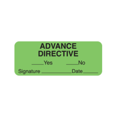 UL588 - ADVANCE DIRECTIVE Labels - Fluorescent Green/Bk Print