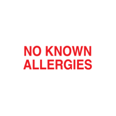 UL810 - NO KNOWN ALLERGIES - White with Red Print